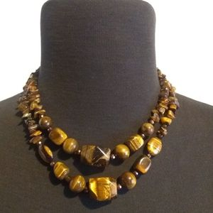 Double strand Genuine Tiger Eye Necklace